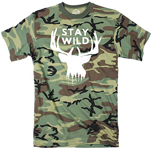 Crazy Dog T-Shirts Stay Wild Youth Camo Tshirt Funny Outdoors Camping Tee (Multi) - M