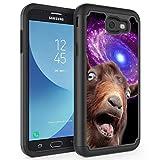 Galaxy J7 V/J7 Prime/J7 Perx/J7 Sky Pro/Galaxy Halo Case,Rossy Hybrid TPU Plastic Dual Layer Armor Defender Protection Case for Samsung Galaxy J7 2017,Funny Space Goat Meme