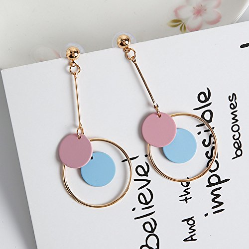 Korean Woman Gift s925 Silver Needle Trend Medallion Necklace Pendant Earrings earings Dangler Eardrop Creative Circle Women Girls Long