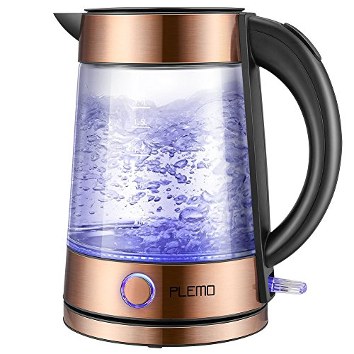 PLEMO Electric Kettle, LED-Lit Fast Water Boiler, Quick-Boil Glass Tea Kettle with Atmospheric Illumination, 1500 W Enclosed Heating Element and Cool Touch Handle, 1.7 L