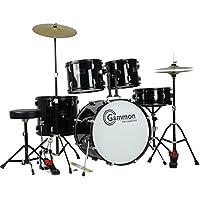 Juego de batería Gammon Percussion tamaño completo completo para adultos, de 5 piezas con platillos, taburete y palos, negro