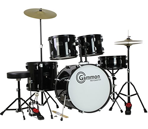 Gammon Percussion Full Size Complete Adult 5 Piece Drum Set with Cymbals Stands Stool and Sticks, Black (Professional Drum Set)