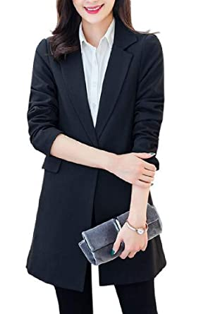 05db8f0f9b3 Domple Women s Plus Size Lapel One Button Mid Length Business Work Blazer  Jacket Black US 2XL