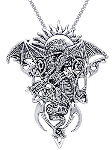 (Jewelry Trends Sterling Silver Celtic Knotwork Fire Dragon Pendant Necklace 18