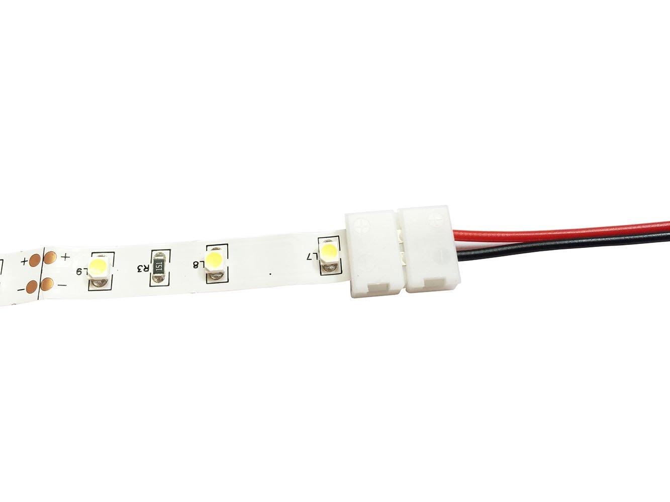 LitaElek 2pin Conector de Tira LED de un Solo Color SMD 5050 5630 Cable extensión de luz de Cinta LED Conector de Esquina de LED Strip para Tira LED ...