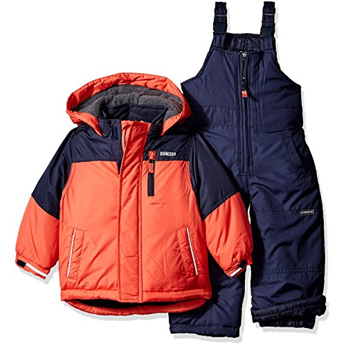 Osh Kosh Toddler Boys' Heavyweight 2 Piece Colorblock Snowsuit, Orange, 4T
