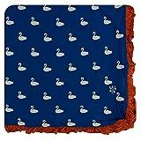 Kickee Pants Print Ruffle Toddler Blanket - Navy Queen's Swans