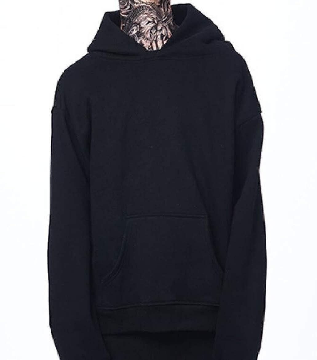 Abetteric Mens Hood Plus Velvet Basic Oversize Pullover Sweatshirt