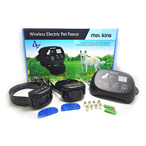 mockins 2 Collar Wireless Electric Pet Fence The Wireless Dog Fence System is Safe For Pets and Includes a Waterproof Receiver Collar a Rechargable Battery And Has a Control Range of Up to 1600 Feet …
