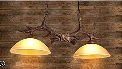 BGmdjcf The Nordic Retro Resin Creative Dual Head Antlers Glass Chandeliers Hanging Clothes Shops In The Living Room Restaurant Cafe Lamps200