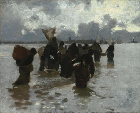 (Oil Painting 'John Singer Sargent,Fisherwomen Returning,about 1877' Printing On High Quality Polyster Canvas , 24x30 Inch / 61x75 Cm ,the Best Kitchen Decor And Home Artwork And Gifts Is This)