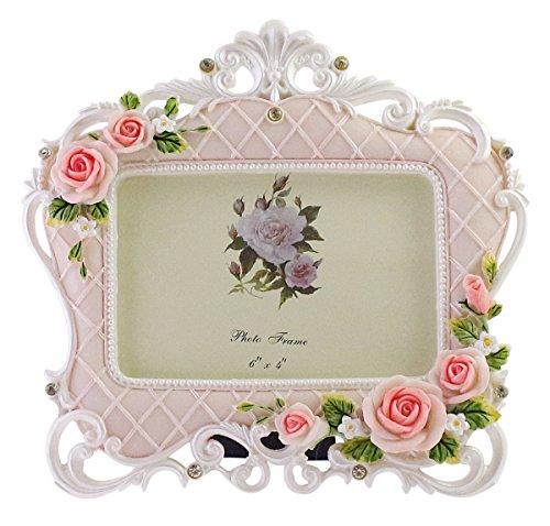 JustNile Vintage Victorian Resin Rose Photo Frame, White &