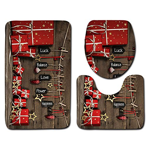 (Set Toilet - 3pcs Set 3d Christmas Tree Toilet Seat Cover Foot Rug Floor Lid Mat Decor - Black Cloth Capscrew Girls Jiahonghome Cushioned Bolts Glacier Steel Uhoo2019 Quran Foam Plush Porta)