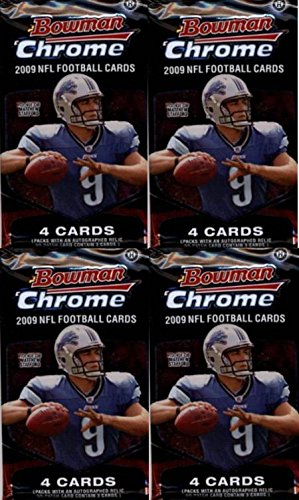 4 (Four) Packs - 2009 Bowman Chrome Football Hobby Packs (4 Cards per Pack) - Possible Knowshon Moreno, LeSean McCoy, Michael Crabtree, Percy Harvin, Matthew Stafford, and/or Arian Foster Rookie - Stores Crabtree
