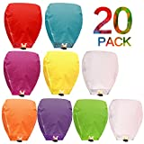 Flying Chinese Sky Lanterns 20 Pack 100% Biodegradable Eco Friendly and Fully Assembled Romantic Night Blue Red and Other Mixed Colors for Party Sea Beach Vacation Holiday