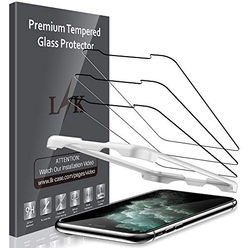 "[3 Pack] LK Screen Protector for iPhone Xs/iPhone X/iPhone 11 Pro 5.8"" Tempered Glass (Alignment Frame Easy Installation) Case Friendly, 9H Hardness,HD Clear, Bubble Free"