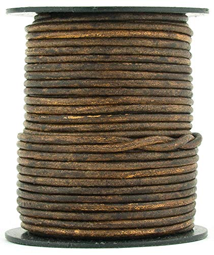 Brown Antique Round Leather Cord 1.5mm 100 Meters (109 Yards)