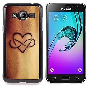 Eason Shop / Premium SLIM PC / Aliminium Casa Carcasa Funda Case Bandera Cover - Tinta Amor Infinito de oro de Brown - For Samsung Galaxy J3 GSM-J300