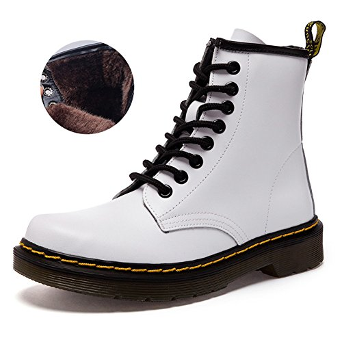 Lady Martin Boots Waterproof Boots Winter Men's Boots Leather Boot White1