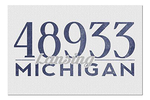 Lansing, Michigan - 48933 Zip Code (Blue) (20x30 Premium 1000 Piece Jigsaw Puzzle, Made in USA!) (Anderson Lansing Park)