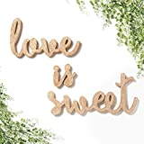 Ling's moment Sparkly Rose Gold Glitter Love is Sweet Freestanding Wooden Table Topper Sign for Wedding Anniversary Bridal Shower Baby Shower Dessert Table Decor Bride Gifts