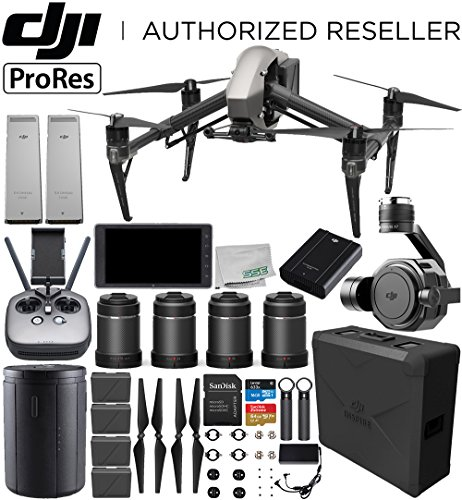 "DJI Inspire 2 Quadcopter (Apple ProRes License Included) with Zenmuse X7 + DJI CrystalSky 5.5"" High-Brightness Monitor + DL & DL-S Lens Set Ultimate Handheld Bundle"