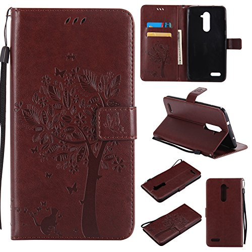 NEXCURIO [Embossed Tree] ZTE ZMax Pro/Imperial Max/ZTE Kirl/Grand X Max 2 / Blade X Max Wallet Case with Card Holder Folding Kickstand Leather Case Flip Cover for ZTE ZMax Pro (Brown)