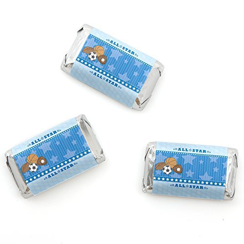 Big Dot of Happiness All Star Sports - Mini Candy Bar Wrappers Baby Shower or Birthday Party Favors - 20 Count -