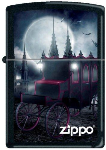 - ZIPPO 218 Black Matte Goth Carriage and Bats