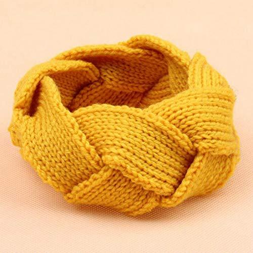 Womens Knitted Yarn Braided Ear Bow Knot Headband Crochet Turban Hair Band Hot (Color - Yellow)