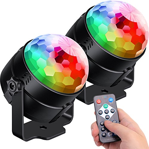 - [2-Pack] Sound Activated Party Lights with Remote Control Dj Lighting, RBG Disco Ball Light, Strobe Lamp 7 Modes Stage Par Light for Home Room Dance Parties Bar Karaoke Xmas Wedding Show Club