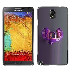 TopCaseStore / la caja del caucho duro de la cubierta de protección de la piel - Art 3D Reflection Grey - Samsung Galaxy Note 3 N9000 N9002 N9005