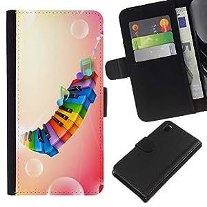 EJOY---La carpeta del tirón la caja de cuero de alta calidad de la PU Caso protector / Sony Xperia Z3 D6603 / --Arco iris de color Piano Rosa