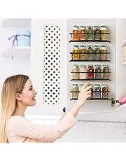 Kruidenrek voor aan de muur, 4-delige kruidenrek, kastdeur, hangend, lang, metaal, kruidenhouder, keukenrek, zonder boren, kruidenrek, kast voor keukenrek, wand, keukenrek, kruidenopslag