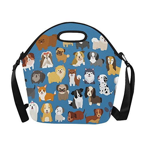 nterestPrint Large Insulated Lunch Tote Bag Cute Puppy Pug Dog Reusable Neoprene Cooler, Animal Blue Portable Lunchbox Handbag with Shoulder Strap (Animal Lunch)