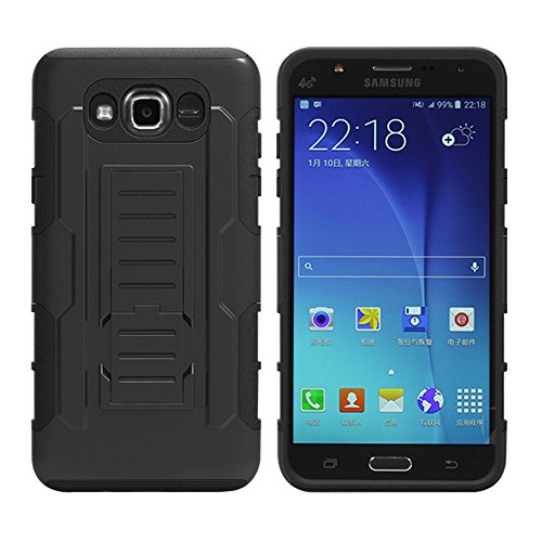 Galaxy J7 Case, MCUK 3 Layer Shock Resistant Hybrid Armor Full Body Protective Case with Kickstand and Removable Holster Swivel Belt Clip Cover for Samsung Galaxy J7 (J7 2016)