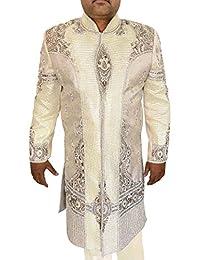 INMONARCH Marfil Hombres 2 Pc Sherwani boda bordado SH0488
