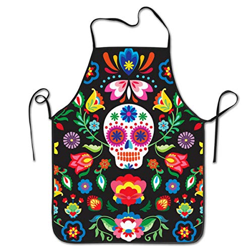 COLOMAKE Waterproof Cooking Mexican Sugar Skulls Day of The Dead Flowers Apron Personalized Chef Apron for Women Men Kitchen Bib Apron Ideal for Dishwashing Cleaning Painting]()