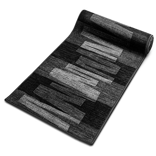 Läufer Teppich Brücke Teppichläufer Veneto 80 cm breit anthrazit grau Marke: Ta-Bo Lifestyle, 80x200 cm inkl. edlen Ta-Bo-Lifestyle Schlüsselanhänger