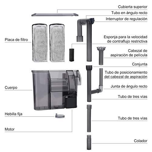AKKEE Filtro Acuario, Filtro Pecera, Filtro Externo Acuario Filtro Pecera Pequeña Acuario Filtro Cascada Flujo 200L/H Filtro para Acuario, Adecuado para 20L~40L Tanque de Peces (3.5W)