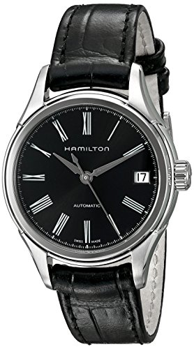 Hamilton Men's H39415734 American Classic Valiant Stainless Steel Automatic Watch with Black Leather Band