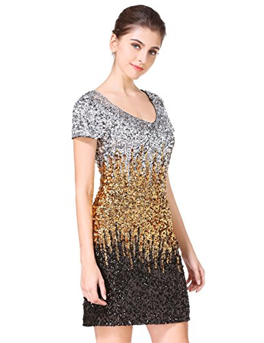 MANER Womens Sequin Glitter Short Sleeve Dress Sexy V Neck Mini Party Club Bodycon Gowns