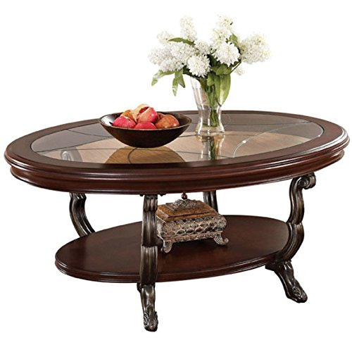 Acme 80120 Bavol Coffee Table, Brown Cherry - Oak Table Coffee Oval