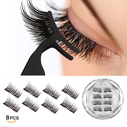 Dual Magnetic Eyelashes 0.2mm Ultra Thin Magnet Lightweight & Easy to Wear Best 3D Reusable Eyelashes Extensions (8 pc with tweezers) by VASSOUL