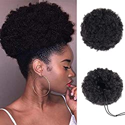 Puff Afro Ponytail Drawstring Synthetic Curly Hair Afro Buns Short Afro Kinky Curly Wig Donut Chignon Hairpieces Kanekalon Fiber Puff Ponytail Wrap Updo Hair Extensions with Two Clips(Black