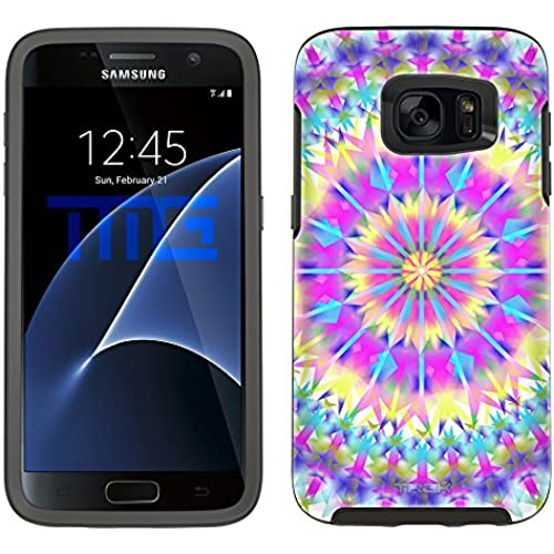 Skin Decal for Otterbox Symmetry Samsung Galaxy S7 Edge Case - Mandala Colorful Triangluar on White Sales