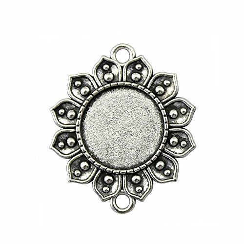 NEWME 12Pcs 18mm Round Inner Size Antique Silver Planted Flower Connector Single Side Double Hanging Cabochon Base Blank Tray Cameo Setting Necklace Bracelet Pendant (Round Flower Connector)