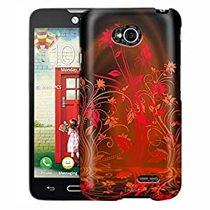 LG Optimus L70 Case, Slim Fit Snap On Cover by Trek Red Plant Beautiful Shadows on Black Case