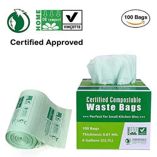 Primode 100% Compostable Bags, 6 Gallon Food Scraps Yard Waste Bags, Extra Thick 0.87 Mil. ASTMD6400 Biodegradable Compost Bags Small Kitchen Trash Bags, Certified by BPI and VINCETTE, (100) - Biodegradable Bin Liners