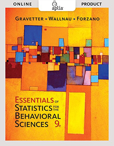 Aplia for Gravetter/Wallnau/Forzano's Essentials of Statistics for the Behavioral Sciences, 9th Edition by Cengage...